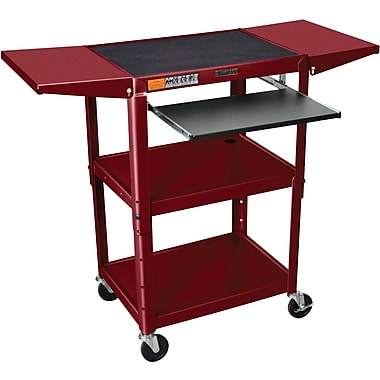 Luxor® Steel Adjustable Height AV Cart W/Keyboard & Drop Leaf Shelves, Burgundy