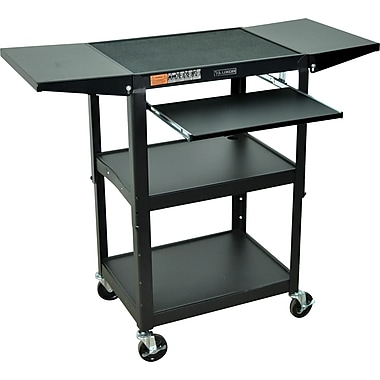 Luxor® Steel Adjustable Height AV Cart W/Keyboard & Drop Leaf Shelves, Black
