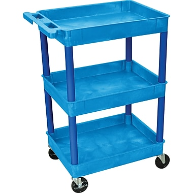 Luxor® STC Series 36 1/2in.(H) 3 Shelves Tub Cart, Blue