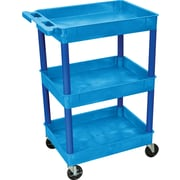 "Luxor® STC Series 36 1/2""(H) 3 Shelves Tub Cart, Blue"