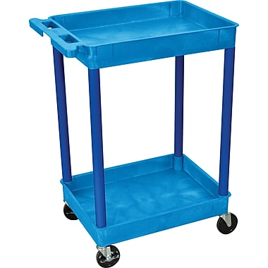 Luxor® STC Series 37 1/2in.(H) 2 Shelves Tub Cart, Blue
