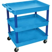 "Luxor® TC Series 37 1/4""(H) 3 Shelves Large Tub Cart, Blue"