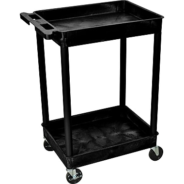 Luxor® STC Series 37 1/2in.(H) 2 Shelves Tub Cart, Black