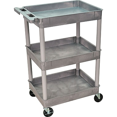 Luxor® STC Series 36 1/2in.(H) 3 Shelves Tub Cart, Gray