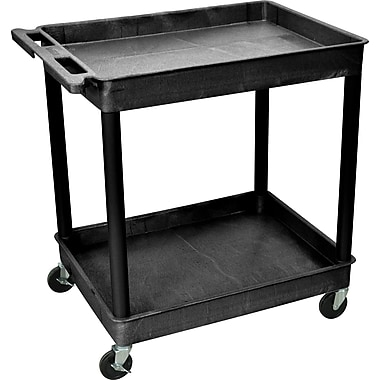 Luxor® TC Series 37 1/4in.(H) 2 Shelves Large Tub Cart, Black