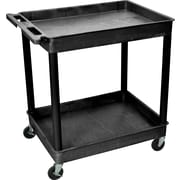 "Luxor® TC Series 37 1/4""(H) 2 Shelves Large Tub Cart, Black"