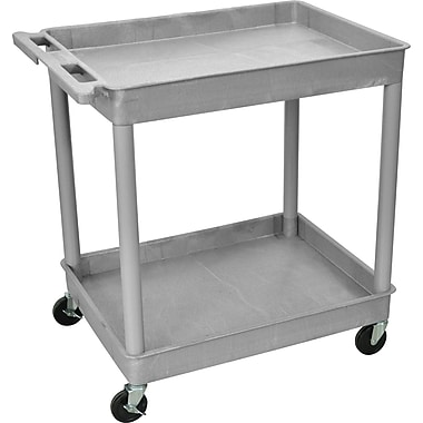 Luxor® TC Series 37 1/4in.(H) 2 Shelves Large Tub Cart, Gray
