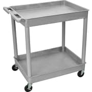 "Luxor® TC Series 37 1/4""(H) 2 Shelves Large Tub Cart, Gray"