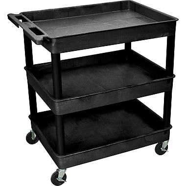 Luxor® TC Series 37 1/4in.(H) 3 Shelves Large Tub Cart, Black
