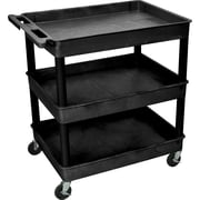 "Luxor® TC Series 37 1/4""(H) 3 Shelves Large Tub Cart, Black"