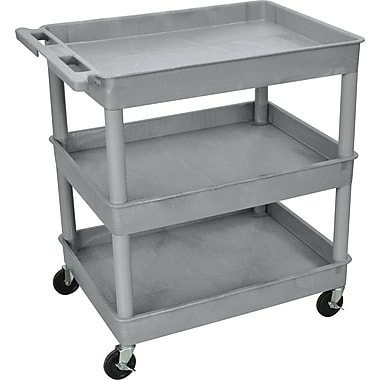 Luxor® TC Series 37 1/4in.(H) 3 Shelves Large Tub Cart, Gray