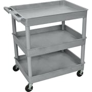 "Luxor® TC Series 37 1/4""(H) 3 Shelves Large Tub Cart, Gray"