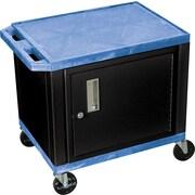 H Wilson® 26(H) 2 Shelves Tuffy AV Carts W/Black Cabinet, Blue
