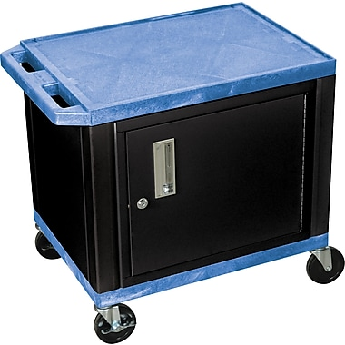 H Wilson® 26in.(H) 2 Shelves Tuffy AV Cart W/Black Cabinet & Electrical Attachment, Blue