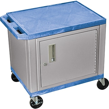 H Wilson® 26in.(H) 2 Shelves Tuffy AV Carts W/Nickel Cabinet & Electrical Attachment, Blue
