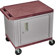 H Wilson® 2 Shelves Tuffy AV Cart W/Nickel Cabinet & Electrical Attachment, Burgundy