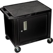 "H Wilson® 26""(H) 2 Shelves Tuffy AV Carts W/Black Cabinet, Black"