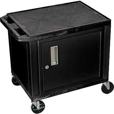 H Wilson® 26in.(H) 2 Shelves Tuffy AV Cart W/Black Cabinet & Electrical Attachment, Black