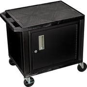 "H Wilson® 26""(H) 2 Shelves Tuffy AV Cart W/Black Cabinet & Electrical Attachment, Black"
