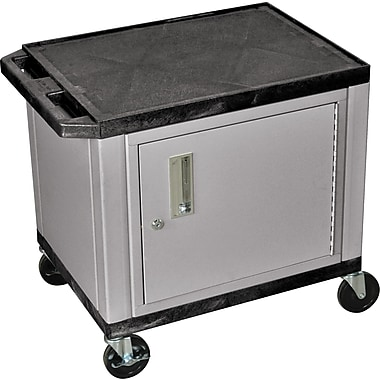 H Wilson® 26in.(H) 2 Shelves Tuffy AV Carts W/Nickel Cabinet