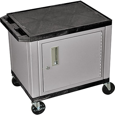 H Wilson® 26in.(H) 2 Shelves Tuffy AV Carts W/Nickel Cabinet & Electrical Attachment, Black