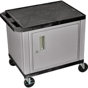 "H Wilson® 26""(H) 2 Shelves Tuffy AV Carts W/Nickel Cabinet & Electrical Attachment"