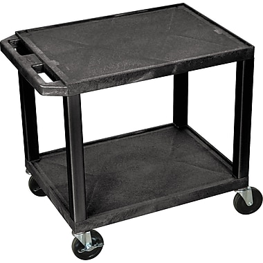 H Wilson® 2 Shelves Tuffy AV Cart W/Putty Legs & Electrical Attachment, Black