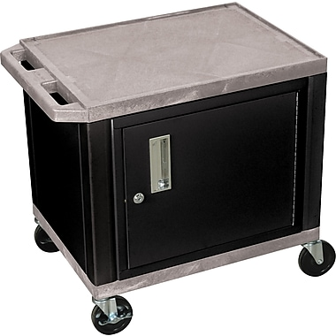 H Wilson® 26in.(H) 2 Shelves Tuffy AV Cart W/Black Cabinet & Electrical Attachment, Gray