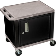 "H Wilson® 26""(H) 2 Shelves Tuffy AV Cart W/Black Cabinet & Electrical Attachment, Gray"