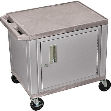 H Wilson® 26in.(H) 2 Shelves Tuffy AV Carts W/Nickel Cabinet, Gray