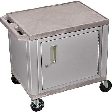 H Wilson® 26in.(H) 2 Shelves Tuffy AV Carts W/Nickel Cabinet, Gray