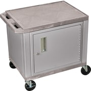 H Wilson® 26(H) 2 Shelves Tuffy AV Carts W/Nickel Cabinet, Gray
