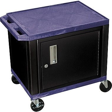H Wilson® 26in.(H) 2 Shelves Tuffy AV Cart W/Black Cabinet & Electrical Attachment, Navy