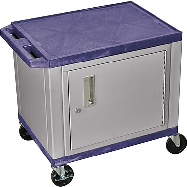 H Wilson® 26in.(H) 2 Shelves Tuffy AV Carts W/Nickel Cabinet & Electrical Attachment, Navy