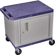 "H Wilson® 26""(H) 2 Shelves Tuffy AV Carts W/Nickel Cabinet & Electrical Attachment, Navy"
