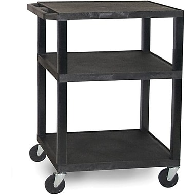H Wilson® 34in.(H) 3 Shelves Tuffy AV Cart W/Putty Legs & Electrical Attachment, Black