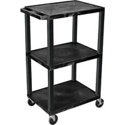 "H Wilson® 42""(H) 3 Shelves Tuffy AV Cart, Black"