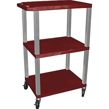 H Wilson® 42in.(H) 3 Shelves Tuffy Carts W/Nickel Legs, Burgundy
