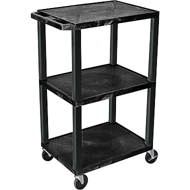 H Wilson® 42 1/2in.(H) 3 Shelves Tuffy AV Cart W/Putty Legs & Electrical Attachment, Black