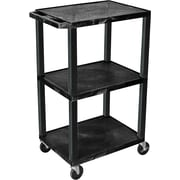 "H Wilson® 42 1/2""(H) 3 Shelves Tuffy AV Cart W/Putty Legs & Electrical Attachment, Black"