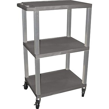 H Wilson® 42in.(H) 3 Shelves Tuffy Carts W/Nickel Legs, Gray
