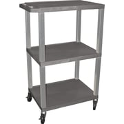 H Wilson® 42(H) 3 Shelves Tuffy Carts W/Nickel Legs, Gray