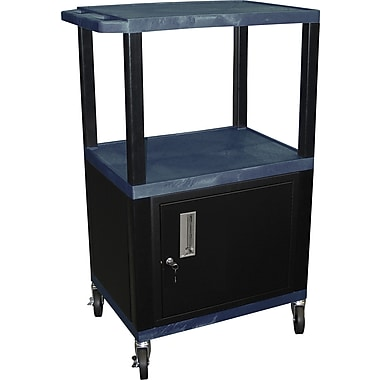 H Wilson® 42 1/2in.(H) 3 Shelves Tuffy AV Carts W/Cabinet & Electrical Attachment, Navy