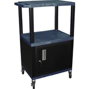 "H Wilson® 42 1/2""(H) 3 Shelves Tuffy AV Carts W/Cabinet & Electrical Attachment, Navy"