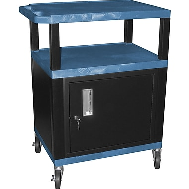 H Wilson® 34in.(H) 3 Shelves Tuffy AV Carts W/Black Legs & Cabinet, Blue