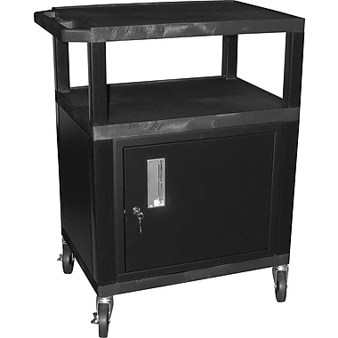 H Wilson® 4in.(H) 3 Shelves Tuffy AV Cart W/Putty Legs, Cabinet & Electrical Attachment, Black
