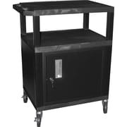 "H Wilson® 4""(H) 3 Shelves Tuffy AV Carts W/Putty Legs, Cabinet & Electrical Attachment"