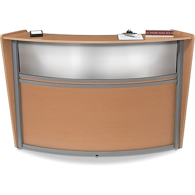 OFM Marque Single-Unit Plexi-Reception Station, Maple