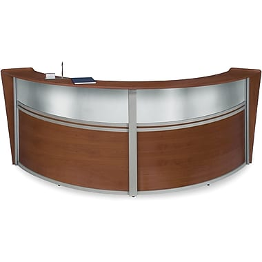 OFM Marque Double-Unit Plexi-Reception Station, Cherry