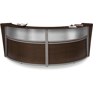 OFM Marque Double-Unit Plexi-Reception Station, Walnut